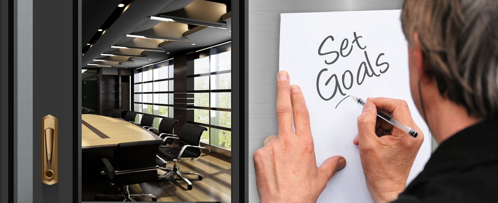 view into a conference room with man writing Set Goals